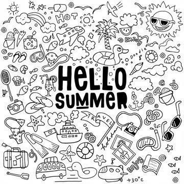 Hand drawn vector illustration set of summer doodles elements.