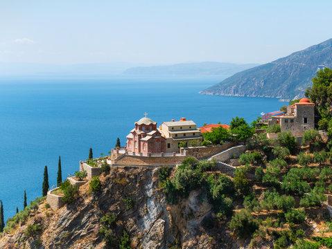 monastery buildings on Mount Athos, Greece