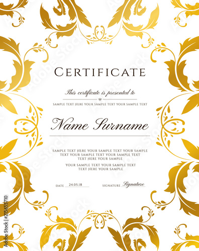 certificate template gold border editable design for diploma