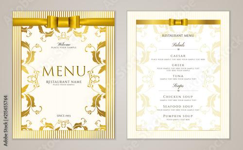 Design Restaurant Menu Template With Gold Floral Border Frame