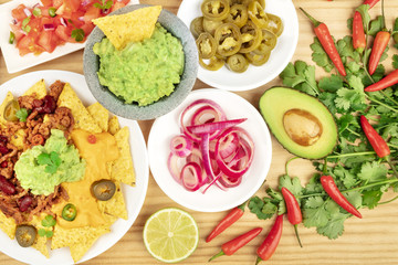 Overhead photo of assortment of Mexican food