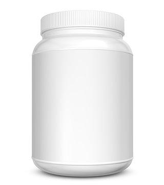 Realistic 3D bottle rendering mockup on white background