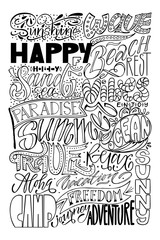 Big vector set, lettering calligraphy. Wave, happy, holiday, beach, rest, sand, sea, vibes, paradise, enjoy, summer, ocean, travel, relax, aloha, vacation, sunny, camp, freedom, journey, adventure
