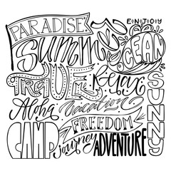 Big travel vector design set, lettering collection. Hand calligraphy: paradise, enjoy, summer, ocean, travel, relax, aloha, vacation, sunny, camp, freedom, journey, adventure. For logo, banner, prints