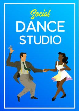 Poster for dance studio. Flyer or element of advertizing for social dances studio. Flat vector illustration. Dance party poster template, event flyer invitation.
