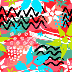 Ethnic exotic batik tropical seamless pattern. Abstract coroful summer time decoration, collage tropical palm leaves hearts flowers brush stroke ornament. Hand drawn vector illustrations.