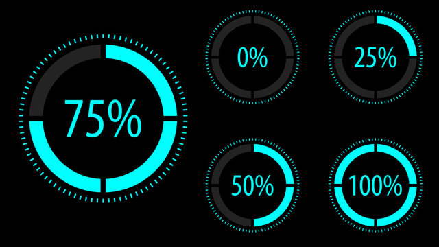 Circular progress icon set. Vector illustration.