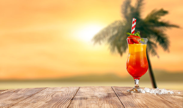 Summer drink on beach and free space for your decoration.