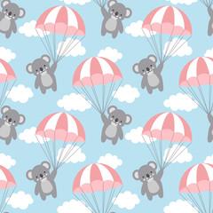 Seamless Koala Pattern Background, Happy cute koala flying in the sky between colorful balloons and clouds, Cartoon Koala Bears Vector illustration for Kids