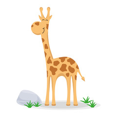 Giraffe in a cartoon style. Funny giraffe flat vector isolated on white. African fauna.