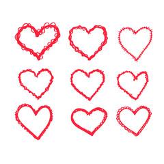 hand draw hearts icon design