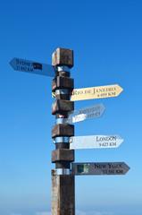 totem con indicazioni delle città del mondo