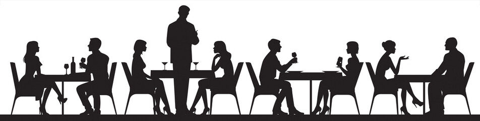 Foto auf Gartenposter Restaurant Panorama of silhouettes of people eating food and drinkers in a cafe or restaurant vector illustration