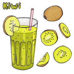 Colorful vector illustration in sketch style. Cool drink of kiwi in a glass of straw. Set with kiwi and cocktail on white background.