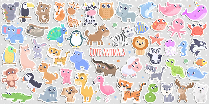Big set of cute cartoon animal stickers vector illustration. Flat design.