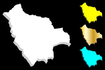3D map of Bolivia (Plurinational State of Bolivia) - white, yellow, blue and gold - vector illustration