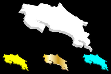 3D map of Costa Rica (Republic of Costa Rica) - white, yellow, blue and gold - vector illustration