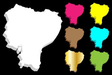 3D map of Ecuador (Republic of Ecuador) - white, yellow, blue, purple, brown, green and gold - vector illustration