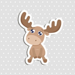 Cute elk sticker vector illustration.