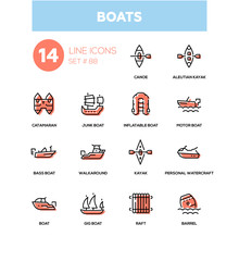 Boats - modern line design icons set