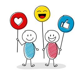 Happy stickmen holding balloon with social media icons. Vector.