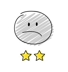 Review - two star rating. Happy blue coloured stickman. Vector.