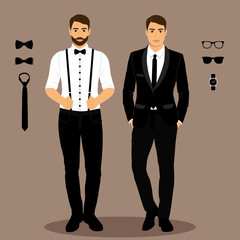 A man with suspenders. The groom. Clothing.