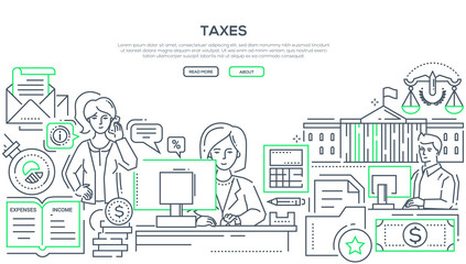 Taxes - modern line design style illustration