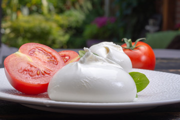 Fresh soft white burrata, ball buttery cheese, made from a mix of mozzarella and ricotta cream, original from Apulia region, Italy, popular soft cheese in USA