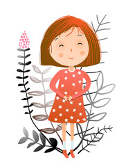 Little teenager Girl cartoon with florals. Vector illustration.
