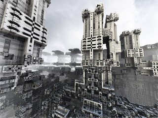 Abstract futuristic vision of the city, 3d fractal render