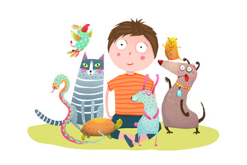 Fun colorful cartoon with little boy and domestic animals. Vector illustration.