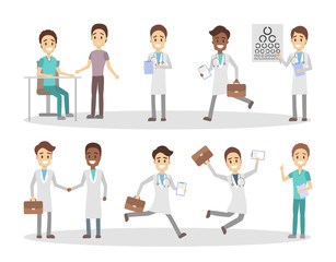 Set of funny doctor characters
