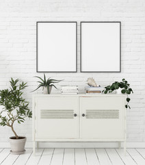 Mock-up poster in Scandinavian style home interior with chest of drawers and plants, 3d render