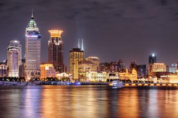 Amazing night view of Puxi skyline in Shanghai, China