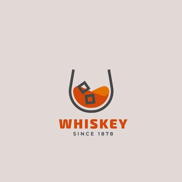 Vector outline logo of whiskey glass. Beverage design template for restaurants, bars, pubs and companies