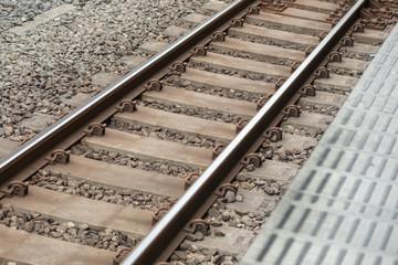 Close up of train railroad track