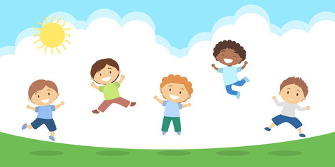 Jumping kids illustration