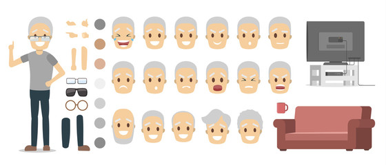 Old man character set for animation