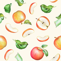 Seamless pattern with hand drawn watercolor apple fruits and green leaves on beige background