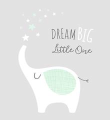 Dream big little one - kids nursery art poster. Cute elephant with stars. Scandinavian style. Baby illustration.