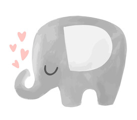 Cute vector elephant illustration with hearts. Baby animal character.