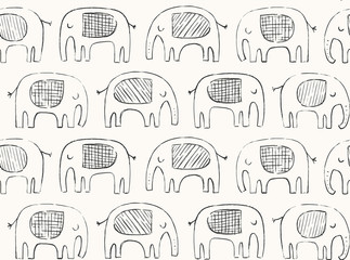 Hand drawn elephant pattern. Doodle elephant silhouette line drawing. Vector seamless background in black and ivory.