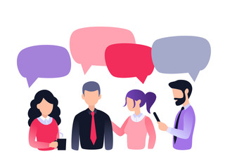 Group of people, colleagues, office workers, friends, drinking coffee at the office. Teamwork vector illustration, flat style, coworkers discuss social network, news, chat, dialogue speech bubbles