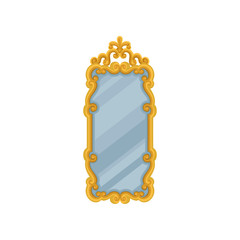 Large rectangular wall mirror with golden ornate frame. Flat vector element for home interior