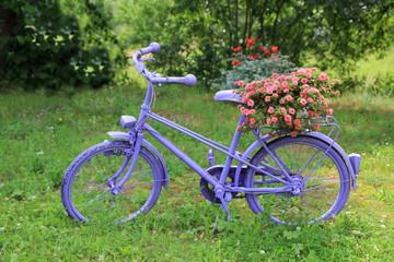 Rower fioletowy z kwietnikiem, różowe kwiaty.