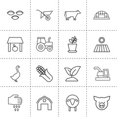 Set of 16 agriculture outline icons