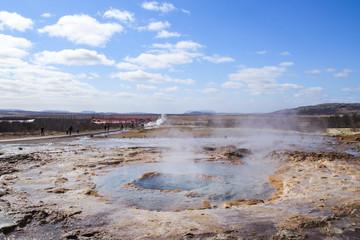 Strokkur geysir eruption at the Geysir geothermal Park in Iceland