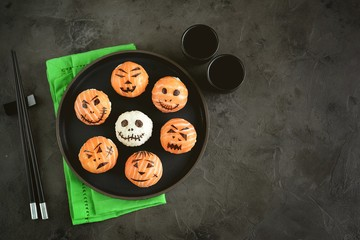 Halloween Sushi Monsters. Temari sushi, sushi balls for Halloween