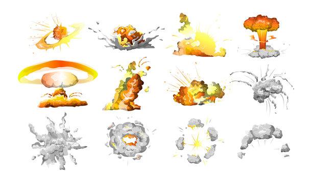 Set of bomb explosion